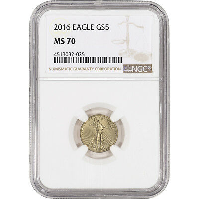 2016 American Gold Eagle (1/10 oz) $5 - NGC MS70