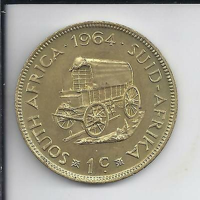 1964 South Africa One 1 Cent.BU Uncirculated Brass, Free ship