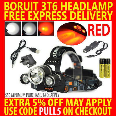 Rechargeable Red Boruit Cree 3T6 11000Lm 3 T6 Xml Led Headlamp Headlight Torch