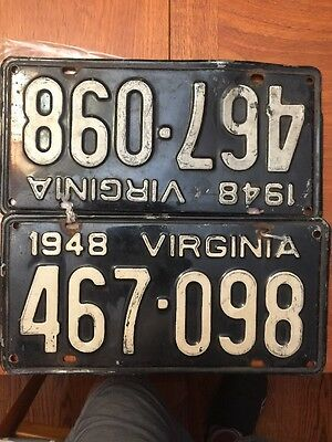1948 Virginia License Plates matched pair