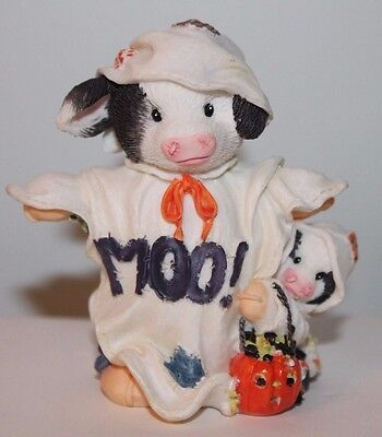 1996 Enesco Mary's Moo Halloween Cow Peek a Moo 185736 Ghost Sheet baby pumpkin