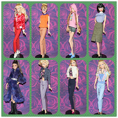 Lots Random Different 10 pairs shoes + 5 sets clothes outfits for barbie dolls