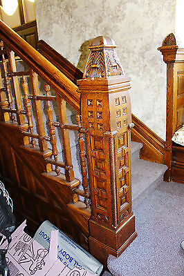 ANTIQUE VICTORIAN STAIRCASE OAK CARVED NEWEL POSTS & Railings SALVAGE- NICE!!