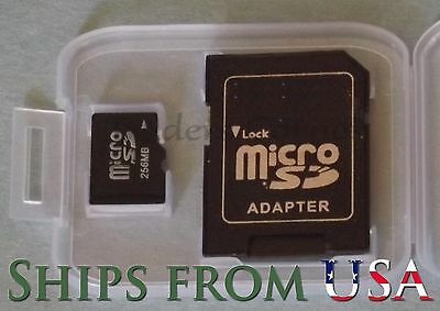 2x 256MB Micro SD Cards, SD Adapter & Case Camera Cell Phone