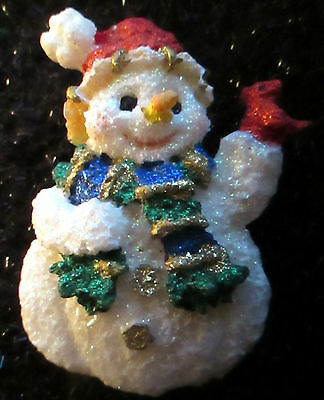 Snowman Red Santa Hat Carrot Nose Pin Brooch Christmas Jewelry Jewlry