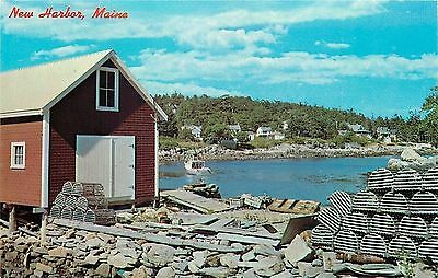 New Harbor Maine~Back Cove~Lobster Traps~1950s Postcard