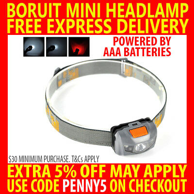 2017 Boruit Mini Cree 3 1W 1200Lm Led Headlamp Red & White Headlight Torch Lamp