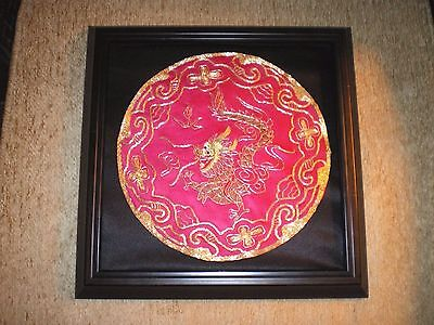 Beautiful Antique Chinese Silk Magenta Embroidered Roundel Textile w/Gold Dragon