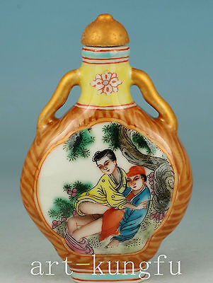 Rare Chinese Old Porcelain Collection Handmade Painting Belle Snuff bottle art
