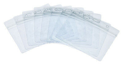 Fushing Pack of 50 Clear Plastic Horizontal Badge Holders, Name Tag Holders