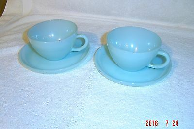 4 pcs Vintage Fire King Turquoise Blue  2 cups & 2 Saucers... Very nice