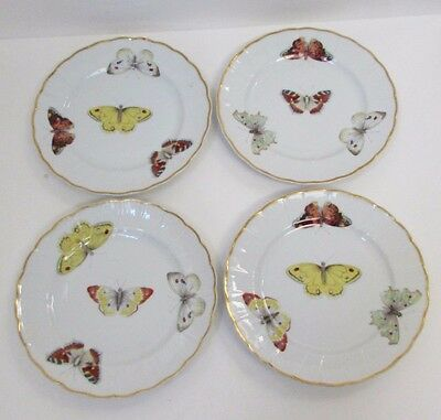 Vintage Set of 4 Bernardaud French Limoges Butterfly Hors d'oeuvre Bread Plates