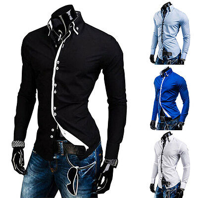 Luxury Fashion Men's Slim Fit Shirts Long Sleeve Dress Formal Casual T-Shirt New