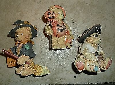 3 Cherished Teddy figurines, Halloween, Enesco, MIB
