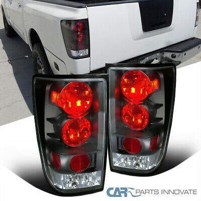 For 2004-2013 Nissan Titan Black Clear Tail Lights Rear Brake Lamps Left+Right