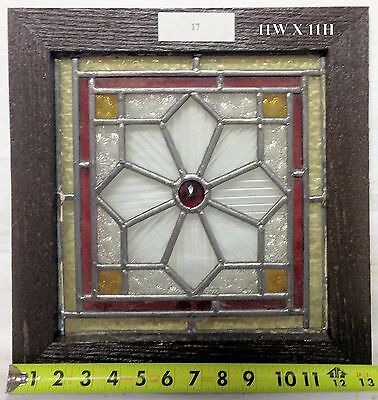 """1900's Stained Glass Window. Lovely ornate jewel design. 11""""Wx11""""H glass size."""