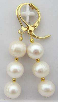 perfect HOT AAA PERFECT SOUTH SEA WHITE PEARL EARRINGS 14K SOLID GOLD MARKED