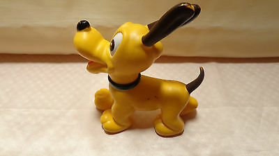 """Vintage  Pluto Toy Walt Disney Productions Hard Plastic 6.5"""" Tall Made In Japan"""