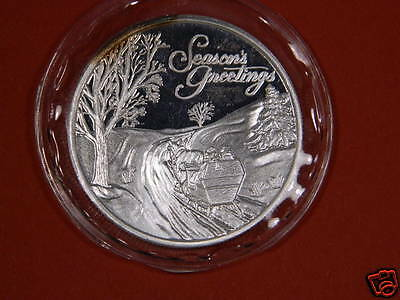 SEASONS GREETINGS 1 Troy Once Silver Round  .999 Fine Silver Bullion