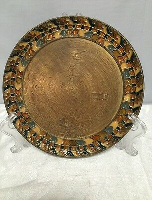 Vintage Enameled On Real Bronze And Copper Wall Hanging Plate  In Greece 6.5""