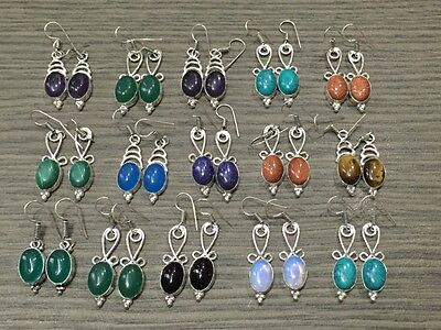 WHOLESALE LOT 15 pcs GREEN ONYX & MULTI-STONE.925 SILVER PLATED EARRING 95 GMS