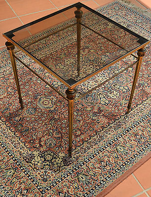 French Provincial Brass and Glass Coffee Bedside Occasional Side Table