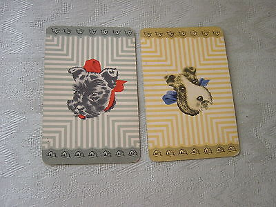 Vintage Pair Playing Swap Cards - Wire Haired Terrier Dogs - 1950's