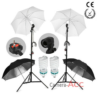 625Wx2 Lamp Bulb Photo Studio Soft Reflective Umbrella Continuous Light Kit Set