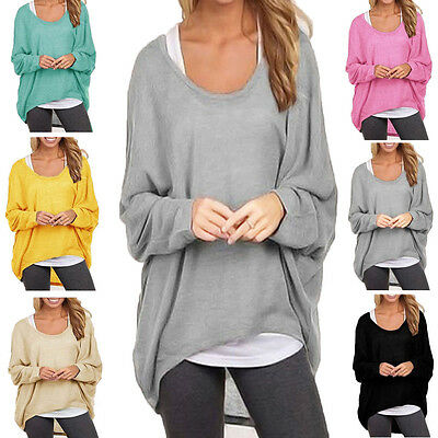 Women Casual Long Sleeve Sweater T-Shirt Pullover Loose Blouse Tops Plus Size US