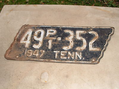 1947 Tennessee TRUCK License Plate Tag Vintage Original Paint