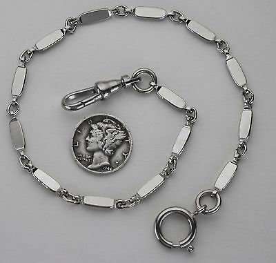 Pocket Watch Chain Art Deco Style Silver Plated Flat Link Chain 10.5 Inch USA