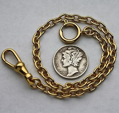 Short Pocket Watch Chain Oval Link 14K Gold Plated Civil War Style USA