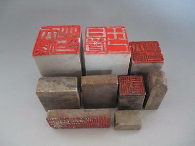 Chinese vintage stone material for seal 9set/ Calligraphy/ carved/ 4465