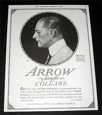 1917 Old Magazine Print Ad, Arrow Berwick, Talbot Form-Fit Collars, Fashion Art!
