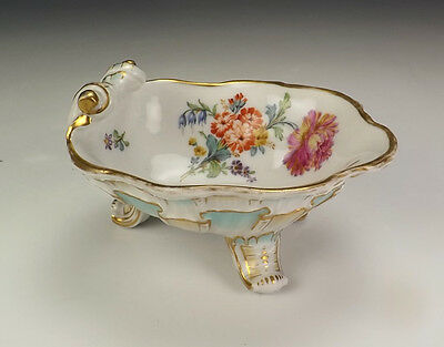 Antique KPM Berlin China - Hand Painted Flower & Insect Footed Shell Formed Salt