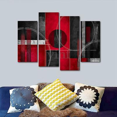 4pcs Red Black Abstract Canvas Print Wall Art Painting Picture Room Home Decor
