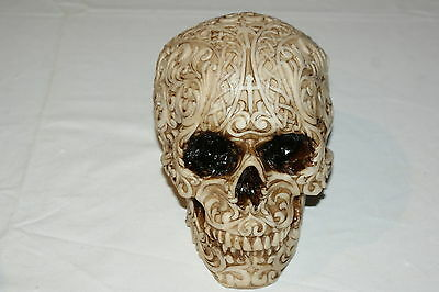 Gothic Tribal Skull Solid Figurine Brand New