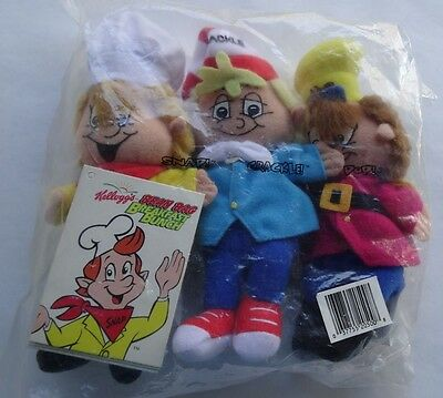 1997 Kelloggs Stuffed Snap Crackle Pop Figures Cereal Doll Toys