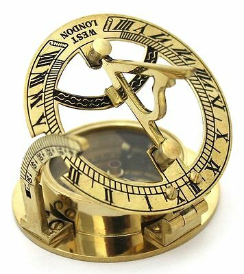 Hollywood Style Victorian Brass Sundial Compass ,compass ,sundial , Antique Comp
