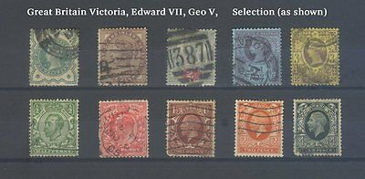 Great Britain stamps Victoria Edward VII George V selection