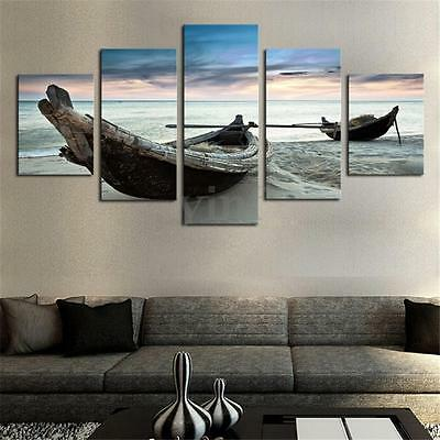 5Pcs Large Ocean Boat Canvas Print Modern Home Decor Wall Art Painting Picture