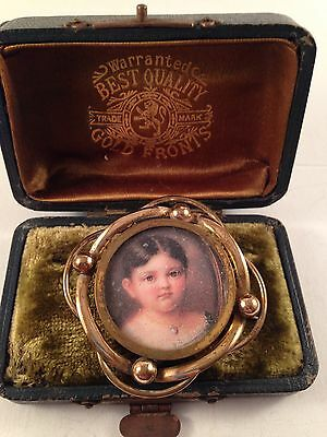 Antique Victorian Swivel Brooch With Girl & Boy Pictures