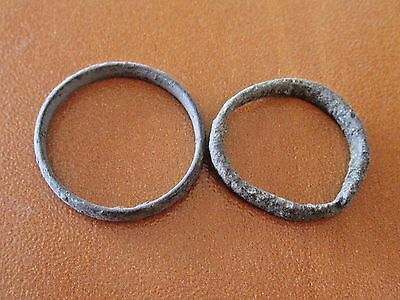 Lot Of 2 Ancient Celtic Wedding Bronze Rings Very Nice Condition