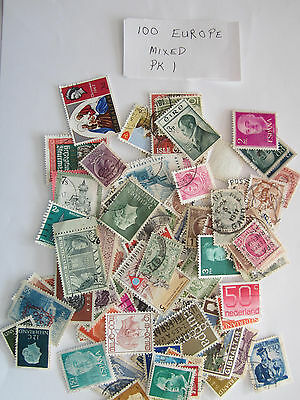 100 Used Postage Stamps  From Europe Mixed No Doubles Pk1