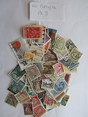 100 used postage stamps from PORTUGAL pk 3 all different