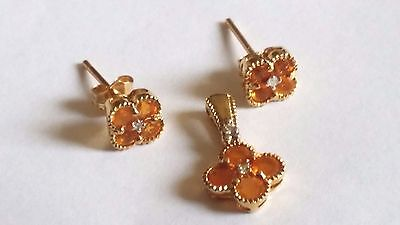 14k Yellow Gold Mexican Fire Opal & Diamond Earrings and Pendant Set