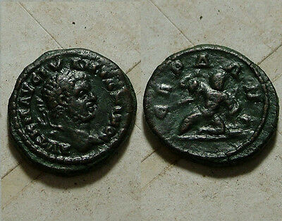Rare genuine ancient Roman coin Caracalla 217AD Serdica Thrace Heracles serpents