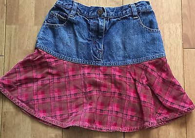 Lovely Girls NEXT Denim Check Skirt - Age: 7 Years - USED!!