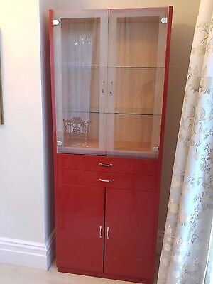 Red Painted Dresser with glass doors and shelves