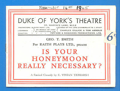 Duke Of Yorks Theatre,london.is Your Honeymoon Really Necessary.small Programme